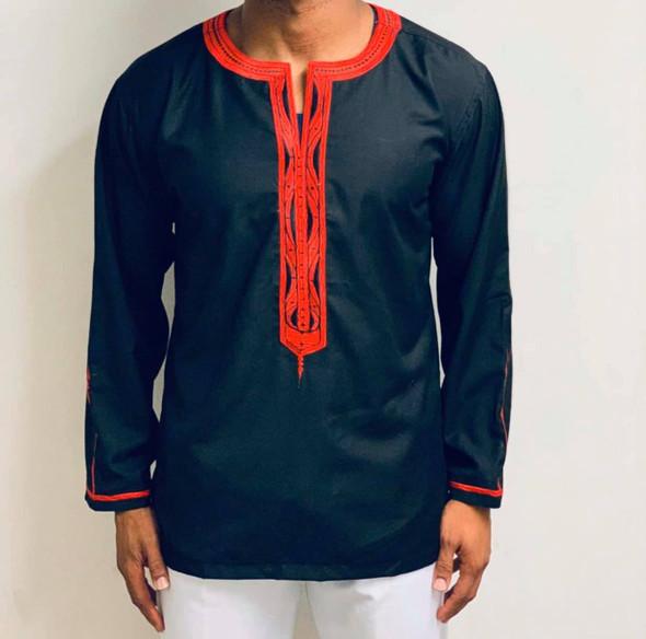 The Embroidered Mini Boubou Black