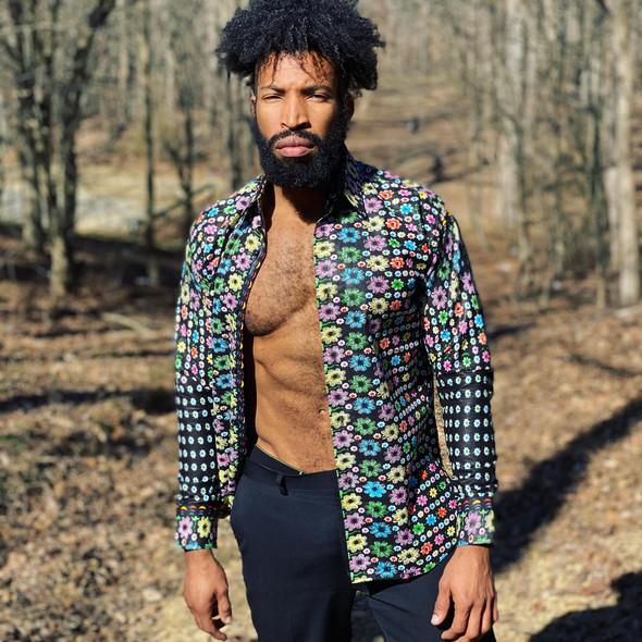 Collared Floral Ankara Design Long Sleeve Shirt