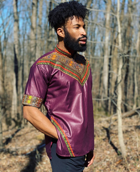 Short Sleeve Men's Collared Shirt with Dashiki Designs Burgundy