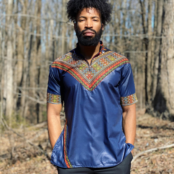 Short Sleeve Men's Collared Shirt with Dashiki Designs Blue