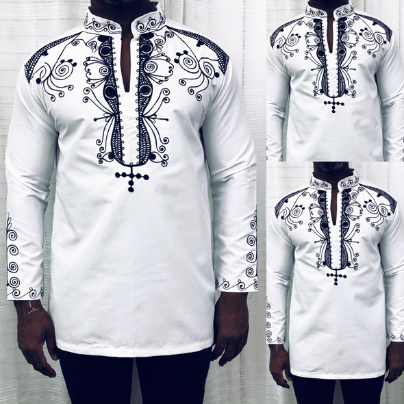 Long Sleeve Embroidered Shirt White/Black
