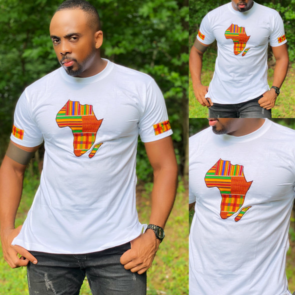 T-Shirt With Africa Map Kente Print White (CLEARANCE)