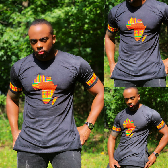 T-Shirt With Africa Map Kente Print Black (CLEARANCE)