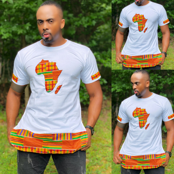 The Side Zipper T-Shirt With Africa Map Kente Prints White (CLEARANCE)