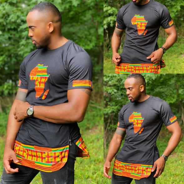 The Side Zipper T-Shirt With Africa Map Kente Prints Black