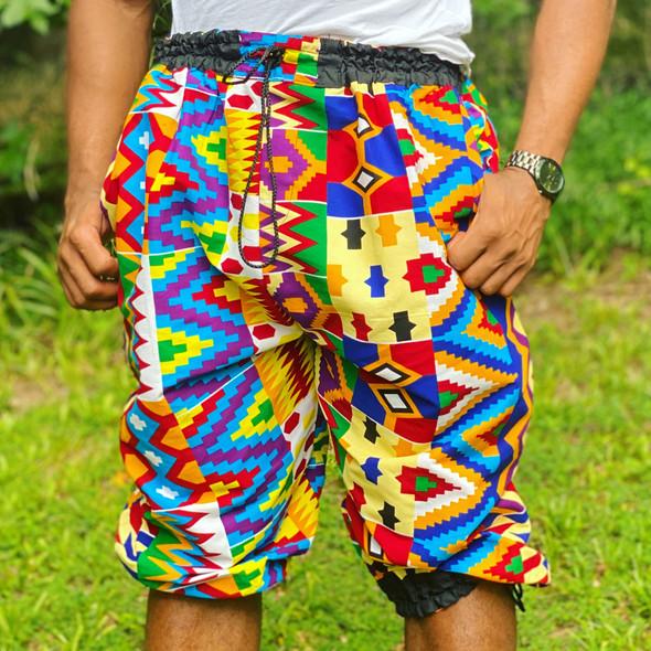 Unisex Joggers/Beach Shorts Dashiki Colors