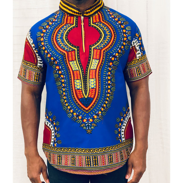 (CLEARANCE) Collared Short Sleeve Shirt Blue Addis Ababa Print