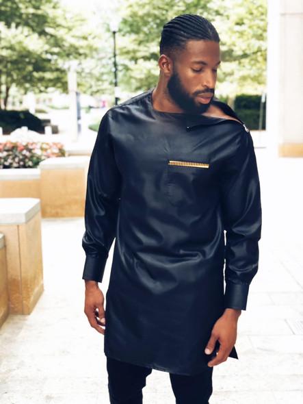 The Ankara Long Shirt Side Zipper Shoulder Black
