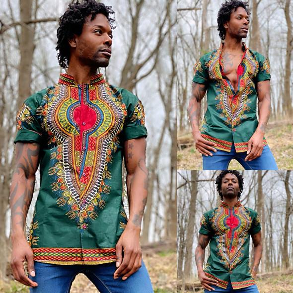 "The Collared Short Sleeve Shirt ""Addis Ababa"" Green"