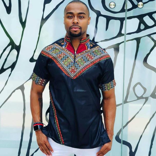 Short Sleeve Men's Collared Shirt with Dashiki Designs Black