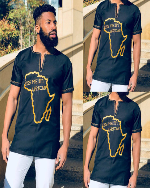 The Short Sleeve Embroidered Shirt with Africa Map