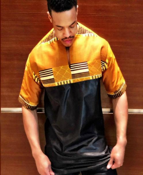 The Short Sleeve Kente Cloth Shirt Gold/Black