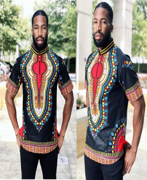 "The Collared Short Sleeve Shirt ""Addis Ababa"" Black"