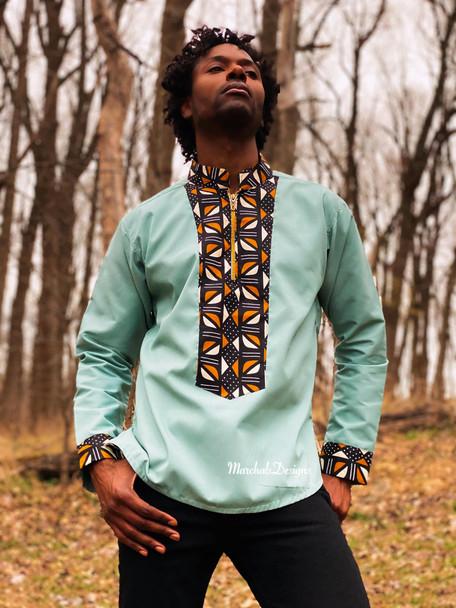 The Long Sleeve Shirt with Dashiki Designs Green