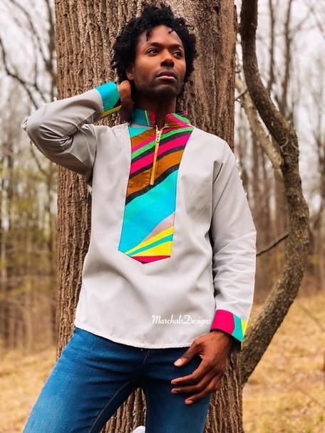 The Long Sleeve Shirt with Dashiki Designs Tan