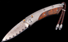 'COPPER WAVE' DAMASCUS This beautiful William Henry exclusive blade steel (patent pending) incorporates copper and stainless steel into a 45 layer Wave Damascus that features a core of VG-5 stainless steel. This steel attains a hardness of HRC 59, excellent by any standards, at the cutting edge.
