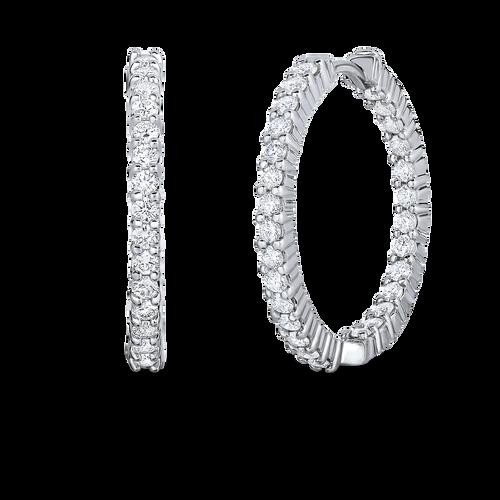 Roberto Coin Diamond 18K White Gold Perfect Diamond Hoop Earrings