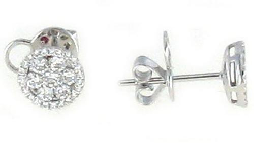 Roberto Coin Diamond 18K White Gold Diamond Round Cluster Earrings