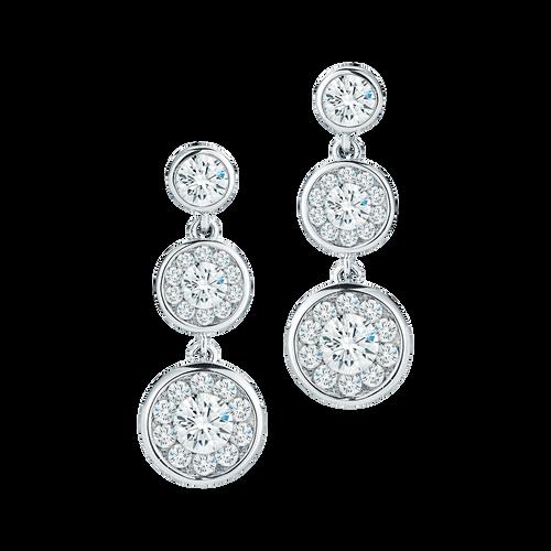 Roberto Coin Fantasia 18K White Gold 3 stone Diamond Earrings