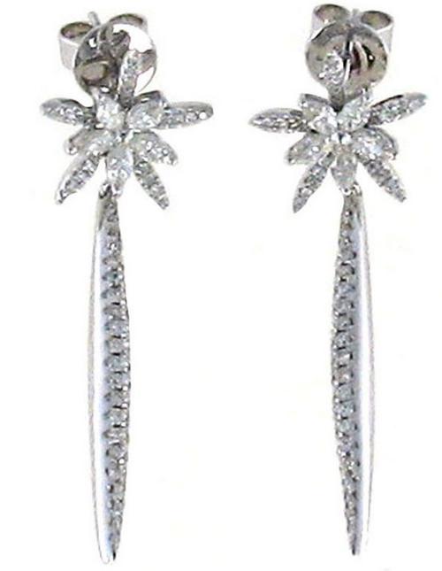 Roberto Coin Fantasia 18K White Gold Diamond Long Flower Earrings