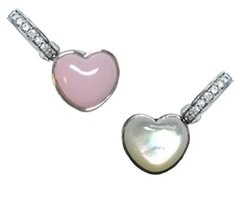 Aaron Basha 18K White Gold 2 Sided Heart (Small)