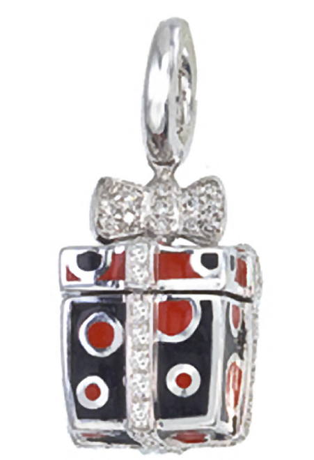 Aaron Basha 18K White Gold Black and Red Square Gift Box