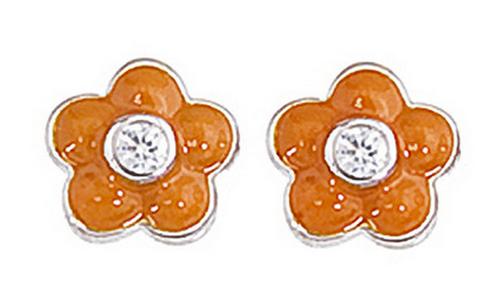 Aaron Basha White Gold Orange Flower Earrings