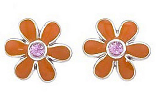 Aaron Basha White Gold Orange with Pink Sapphire Daisy Earrings