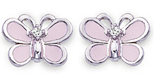 Aaron Basha White Gold Pink Butterfly Earrings (Small)