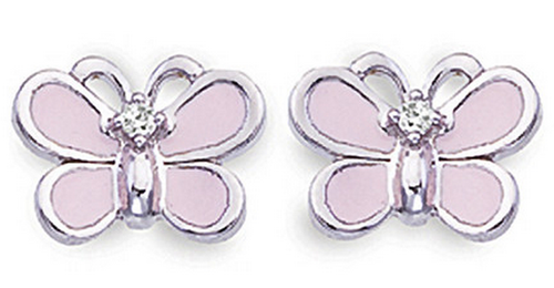 Aaron Basha White Gold Pink Butterfly Earrings (Large)