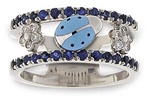 Aaron Basha White Gold Blue Sapphire Double Decker Ring