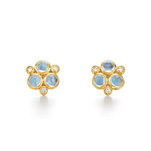 Temple St. Clair 18K Classic Trio Earrings with Royal Blue Moonstone and Diamond