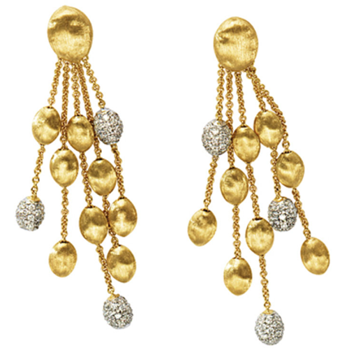 Marco Bicego Siviglia Five Strand Earrings in 18kt Gold with Pave Diamond