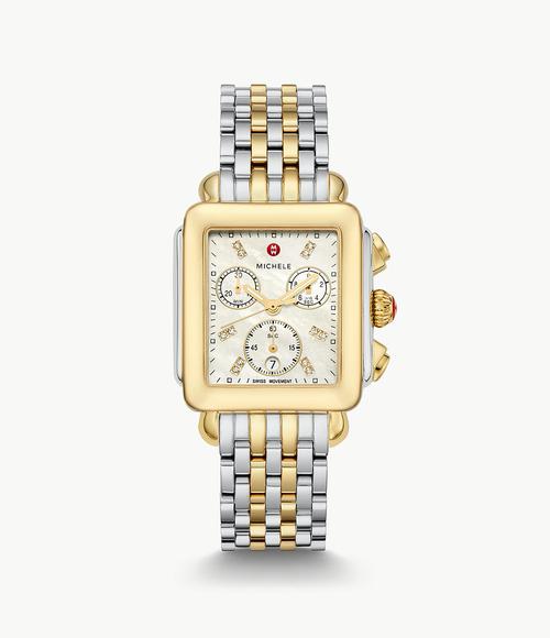 Michele Deco Non-Diamond Two-Tone, Diamond Dial Two Tone Bracelet