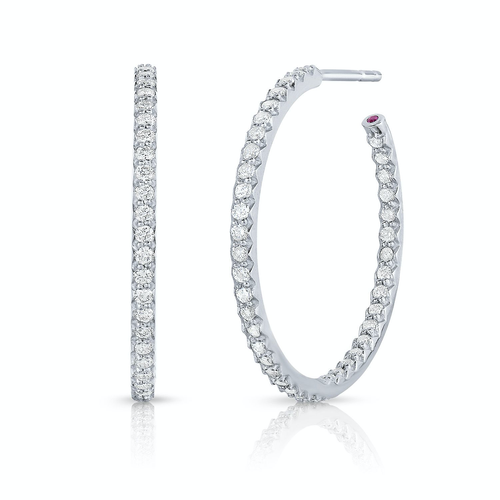 Roberto Coin 18K White Gold Perfect Diamond Hoop Earrings (0.80 cts)