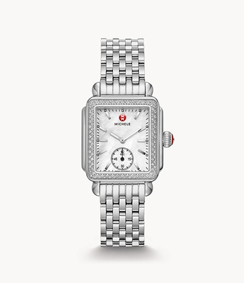 Michele Deco Madison stainless watch with diamonds