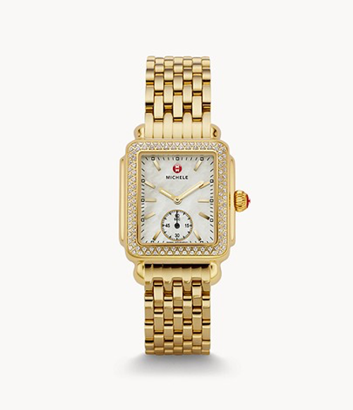 Michele Deco Mid Diamond Gold Watch with White MOP dial