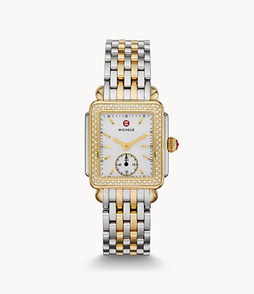 Michele Deco Mid Diamond Two-tone watch with white dial