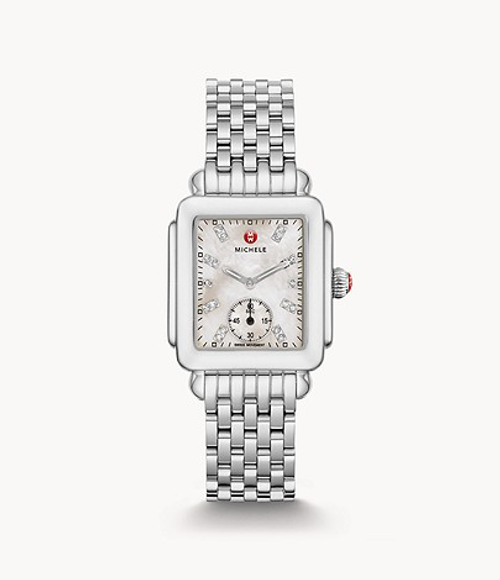 Michele Deco Mid Stainless Watch with White MOP and Diamond Dial