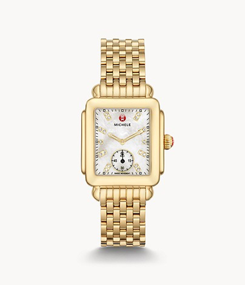 Michele Deco Mid Gold watch with White MOP and diamond dial