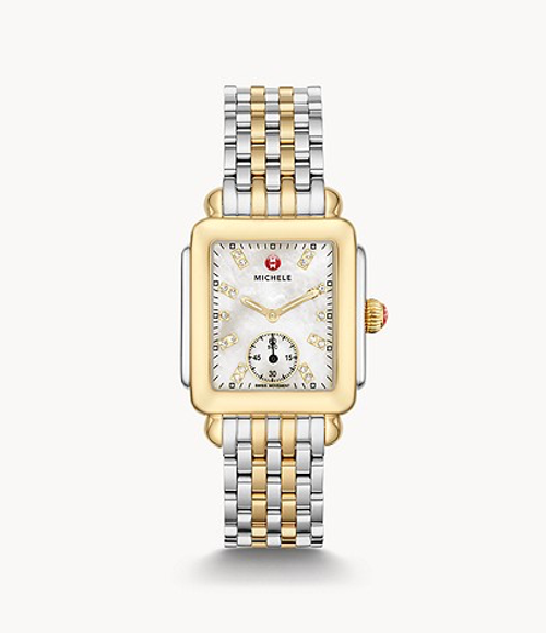 Michele Deco Mid Two-Tone Watch with White Diamond Dial