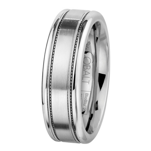 Scott Kay Prime Wedding Band Double Stippled Stripes