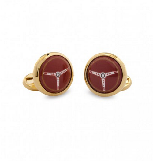 HALCYON DAYS STEERING WHEEL ROUND CUFFLINKS
