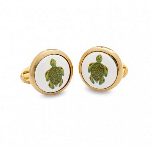 HALCYON DAYS TURTLE ROUND CUFFLINKS