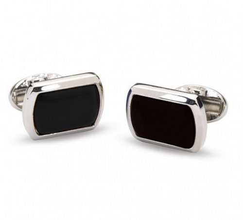 HALCYON DAYS BLACK & SILVER RECTANGULAR CUFFLINKS