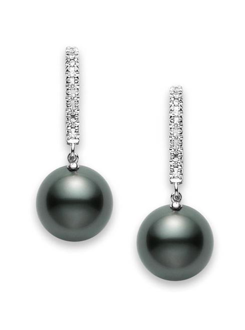 Mikimoto Black South Sea Pearl and Diamond Leverback Earrings