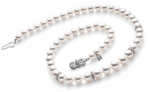 Mikimoto 18'' Strand with Diamond Rondels - White Gold Clasp
