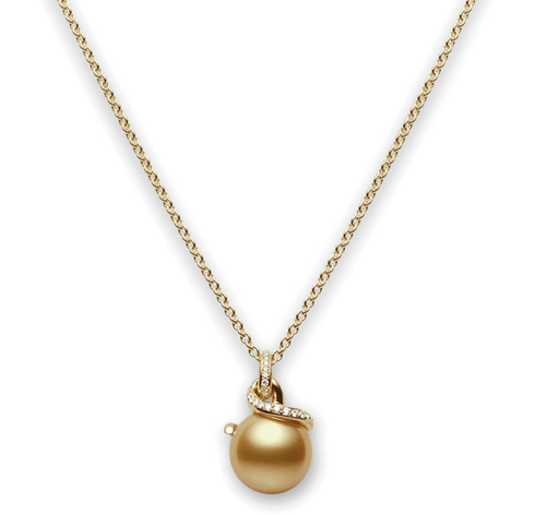 Mikimoto Golden South Sea Pearl & Diamond Pendant