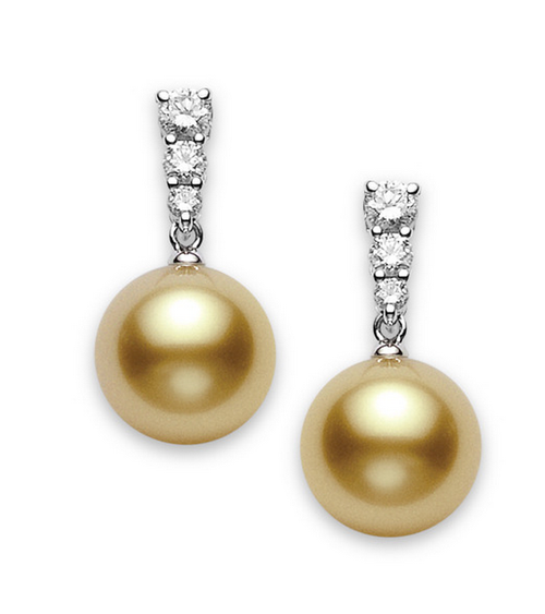 Mikimoto 18k White Gold Morning Dew Golden South Sea Pearl and Diamond Earrings