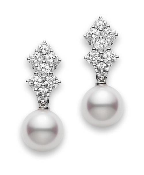 Mikimoto 18k White Gold Classic Elegance Pearl and Diamond Earrings